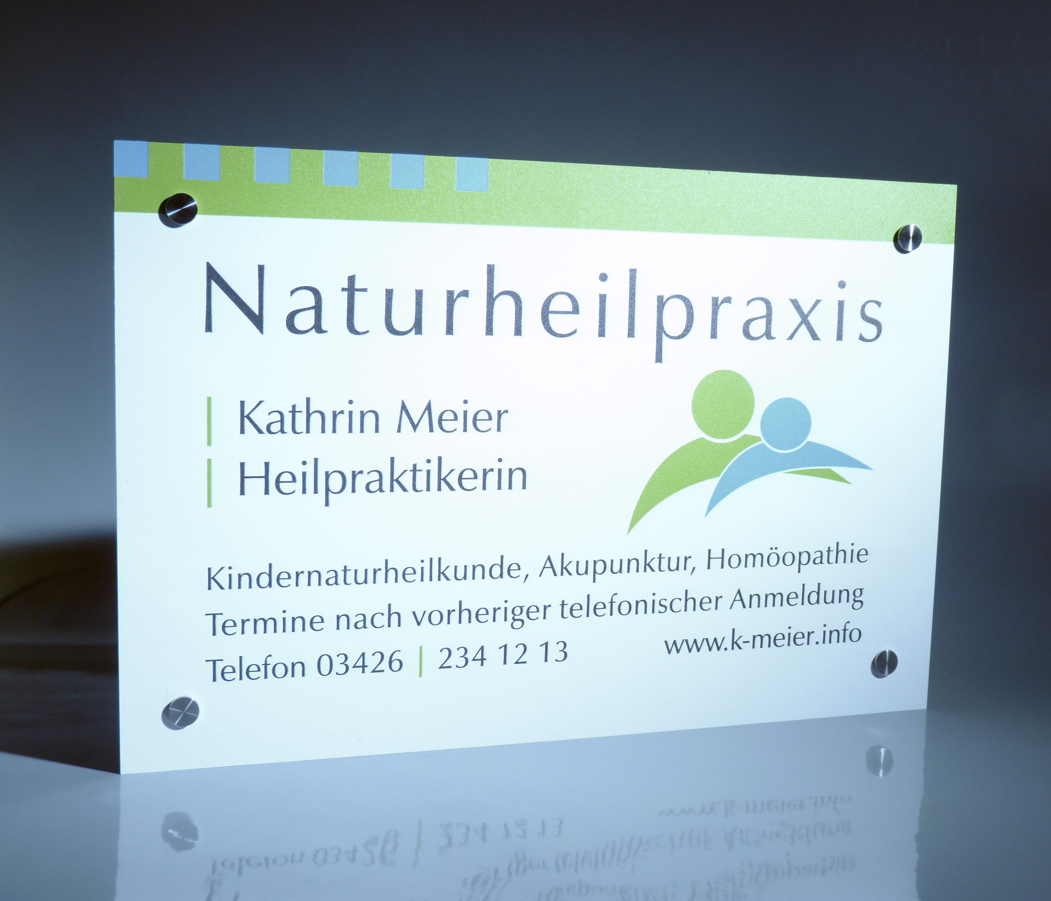 Naturheilpraxis Schild aus Acrylglas - Werbeschild 24 Schilder