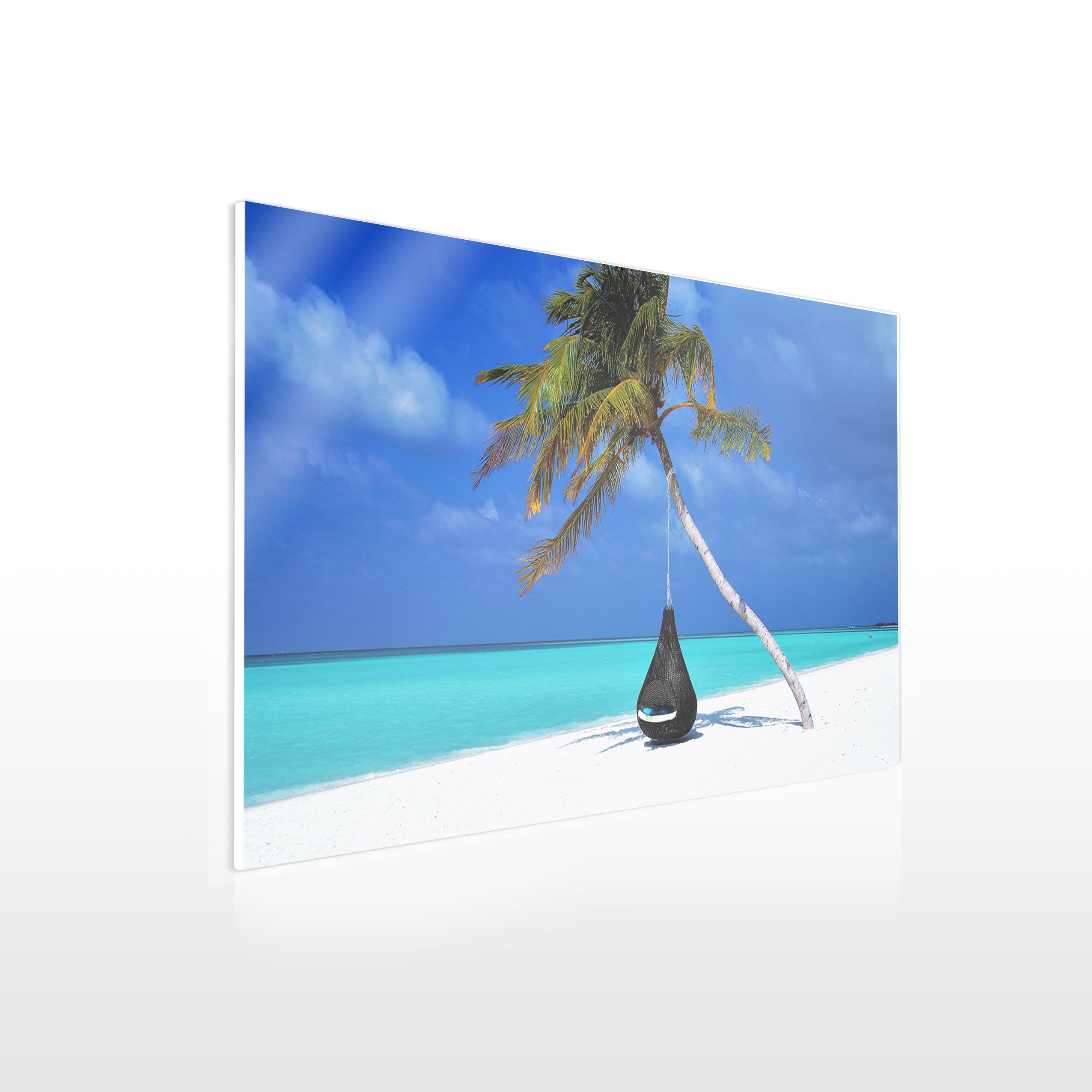 urlaubsbilder auf acryl beispiel strand mit palme 70 x 40 cm werbeschild 24 schilder. Black Bedroom Furniture Sets. Home Design Ideas