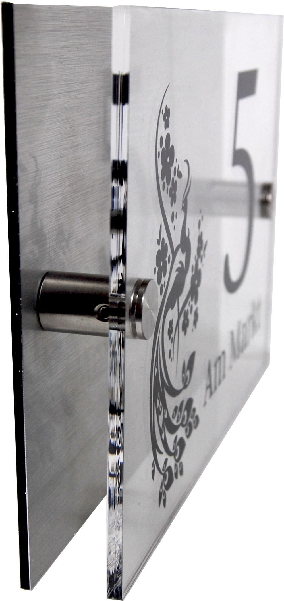 acrylglas t rschild mit edelstahl hintergrund werbeschild 24 schilder. Black Bedroom Furniture Sets. Home Design Ideas